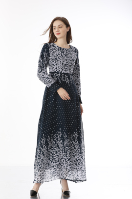 Spring And Summer New Plus Size Long-sleeved Dress NSLIB59804