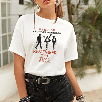 New Fashion Mike Jackson Pattern Printing Round Neck Short Sleeve T-shirt NSAYS59802