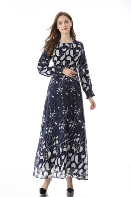 Long-sleeved Floral Spring And Autumn New Retro Large Swing Dress NSLIB59801