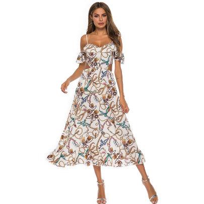 Printed Big Swing Sling Off-shoulder Ruffle Midi Dress NSJIM55031
