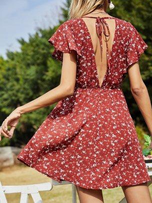 New Short Printed Red Fashion Dresses NSCAI59778