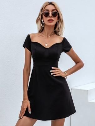 New Black Short Pure Color Dresses NSCAI59780