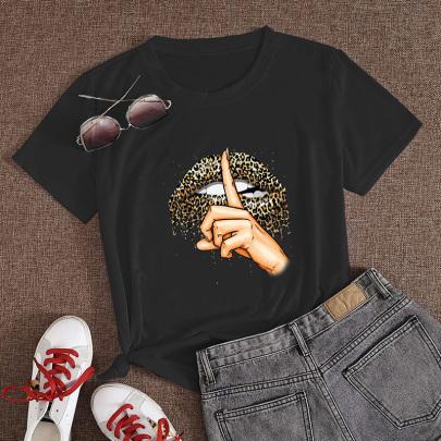 Leopard Print Lip Print Casual Short-sleeved T-shirt NSYAY59769