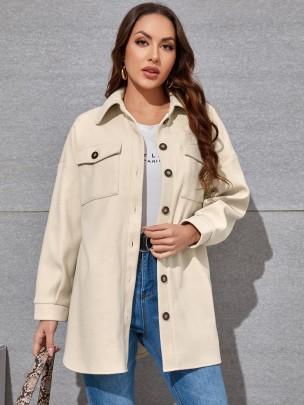 New White Long Pure Color Fashion Jackets NSCAI59881