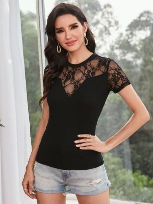 New Black Pure Color Comfortable Tops NSCAI59880