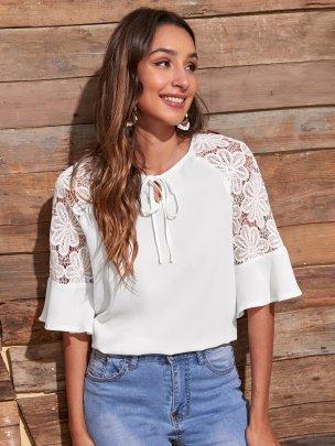 New White Pure Color Fashion Comfortable Tops NSCAI59878