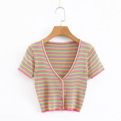 Wholesale Color Striped Knit Slim Cardigan NSAM54601