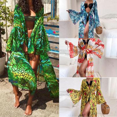 Fashion Lace-up Loose Long-sleeved Printed Long Dress NSYIS54951