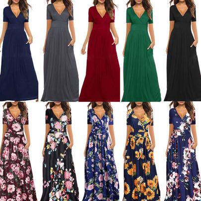 Printed V-neck Wrapped Short Sleeve Pocket Long Dress NSYIS54950