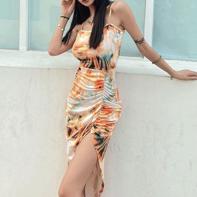 Sexy Printed Pleated High Waist Hem Irregular Sling Dress  NSYIS54945