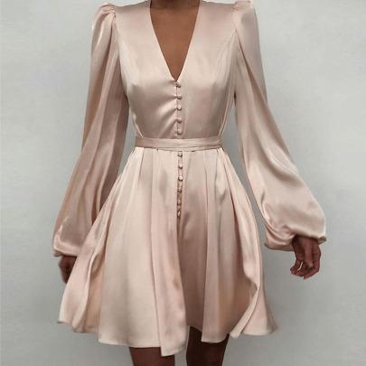 Fashion Long-sleeved V-neck Single Breasted Short Dress  NSYIS55003