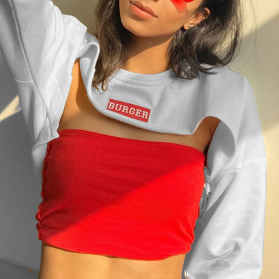 Letter Printing Ultra Short Cropped White Sweater NSMEI54870