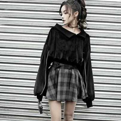 Solid Color Diagonal Collar Velvet Sweatshirt NSMEI54885