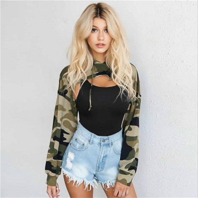 Cropped Loose Camouflage Long-sleeved Hooded Sweater  NSMEI54895