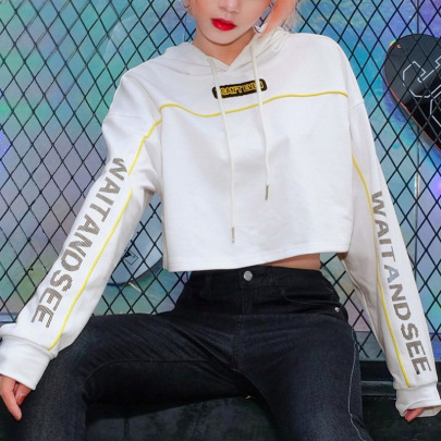 Cropped Letter Printed Cotton Hooded Sweatshirt NSMEI54902