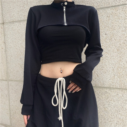 Irregular Stand-up Collar Long-sleeved Cardigan  NSMEI54913
