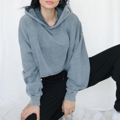 Loose Hedging Short Cropped Hooded Cotton Sweatshirt NSMEI55086