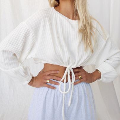 Short Drawstring Tie Round Neck White Sweatshirt NSMEI55100