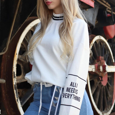 Round Neck Color Matching Letter Printing Striped Cotton Sweatshirt NSMEI55129