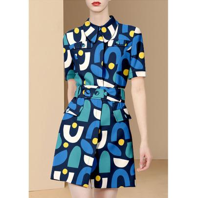 Round Neck Short-sleeved Printed Slim Shirt Dress  NSYIS55512