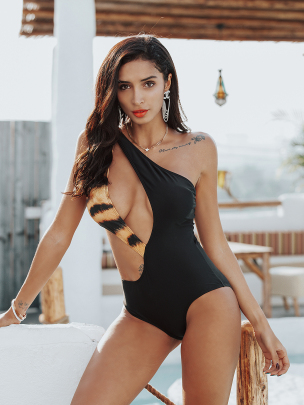 Fashion Splicing Tiger Printed One-piece Swimsuit NSLUT55514