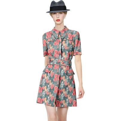 Short-sleeved Slim Temperament Shirt Dress NSYIS55538