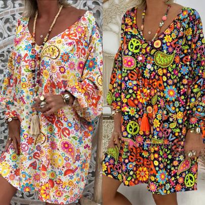V-neck Printed Long-sleeved Loose Dress  NSYIS55541
