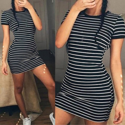 Black And White Striped Round Neck Short Sleeve Bag Hip Dress NSHEQ55258
