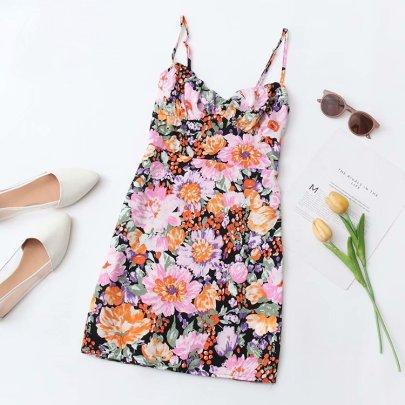 High Waist Printed Suspender A-line Dress  NSAM55326
