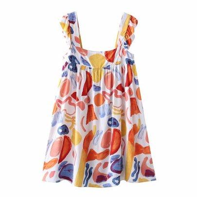 Color Printing Ruffled Square Neck Halter Sleeveless Dress  NSAM55327