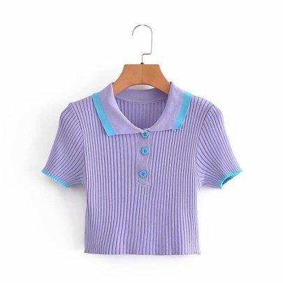 Wholesale Spring Contrast Color Short Knit Top NSAM55352