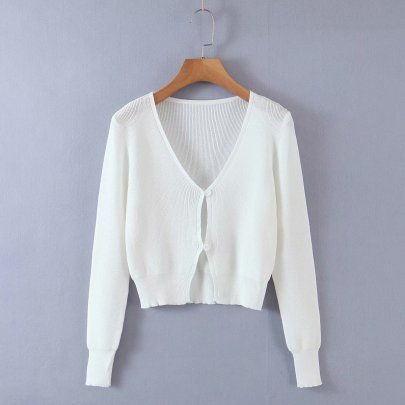 Wholesale Summer New Slim V-neck Long-sleeved Knitted Cardigan NSAM55359