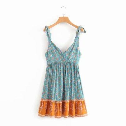 Rayon Printing V-neck High Waist Folds Suspender Lace-up Dress NSAM55362