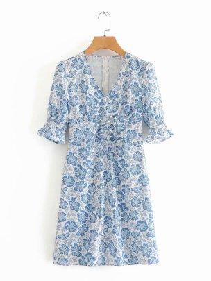 Blue And White Porcelain Short-sleeved Waist Lace-up Slim Dress  NSAM55363