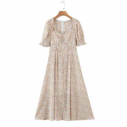 Square Neck Chiffon Floral Short Sleeve Big Swing Dress NSAM55364