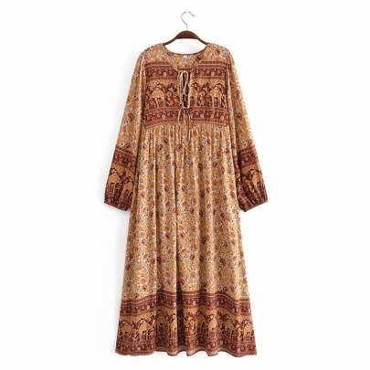 Loose Cotton Print Lace-up Fringed Long-sleeved Dress  NSAM55369
