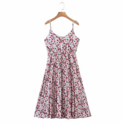 High Waist Sling Backless Chiffon Floral Crumpled Dress  NSAM55376
