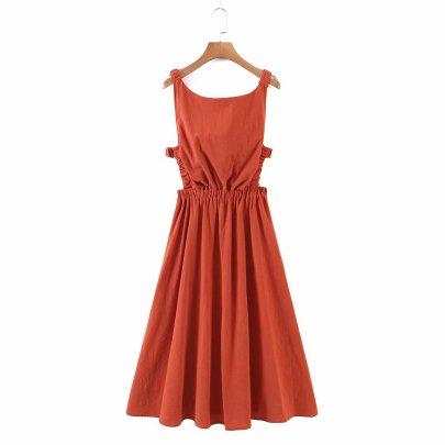 Solid Color Halter Sling Elastic Waist Hollow Dress  NSAM55377
