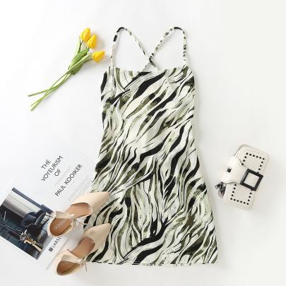 Fashion Backless Zebra Print Suspender Short Dress  NSAM55378