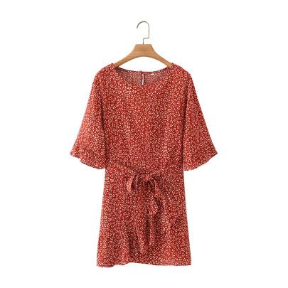 Short-sleeved Waist Belt Short Slimming Floral Dress NSAM55388