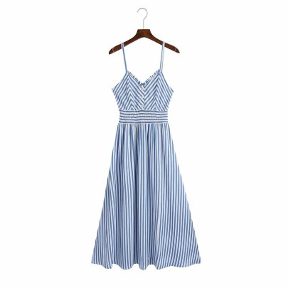 Fashion Striped High Waist Mid-length Suspender Dress  NSAM55393