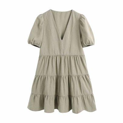 V-neck Short-sleeved Solid Color Splicing Linen Dress NSAM55394