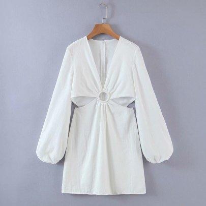 Solid Color Slim Deep V-neck Waist Hollow Long-sleeved Dress NSAM55395