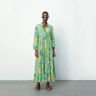 Fashion Lapel Long-sleeved High Waist Long Shirt Dress  NSAM55401