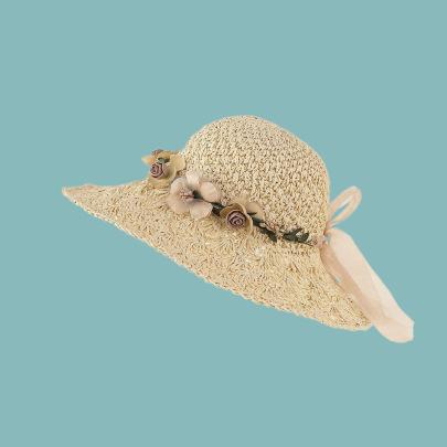 Lace-up Floral Decor Straw Hat NSTQ55463