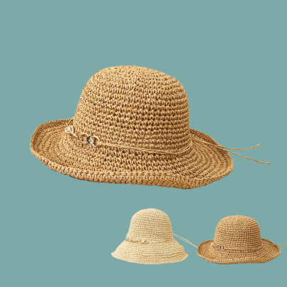 Metal Decor Lace-up Straw Hat NSTQ55466