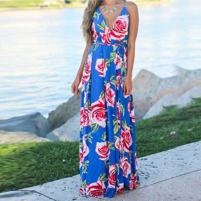 Spring And Summer New Fashion V-neck Sling Print Big Swing Skirt  NSYIS55568