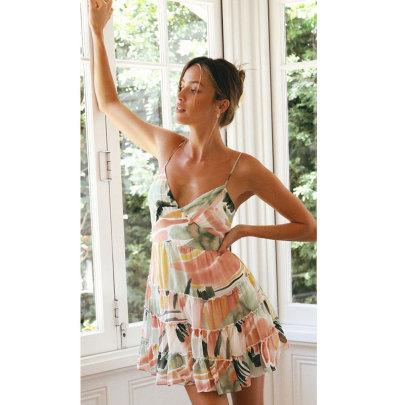 Summer New V-neck Stitching Printed Dress NSJIM55564