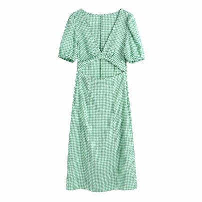 Spring Open Design Plaid Dress NSAM59915