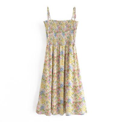 Retro Floral Folds Elastic Waist Slimming Suspender Dress NSAM59917